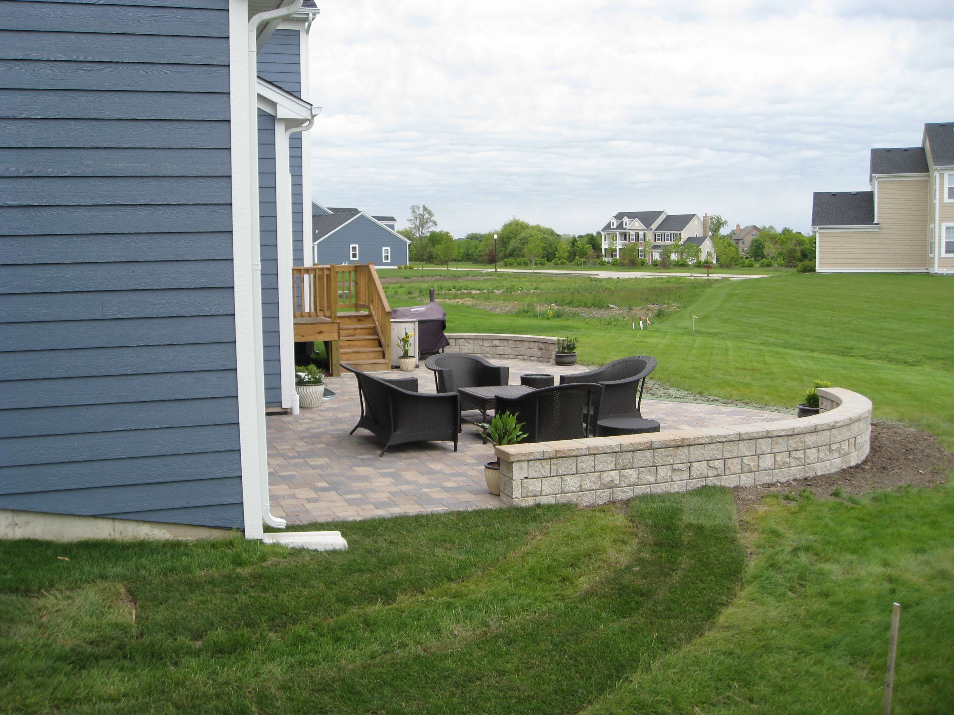 Brick Paver Patio With Seatwall