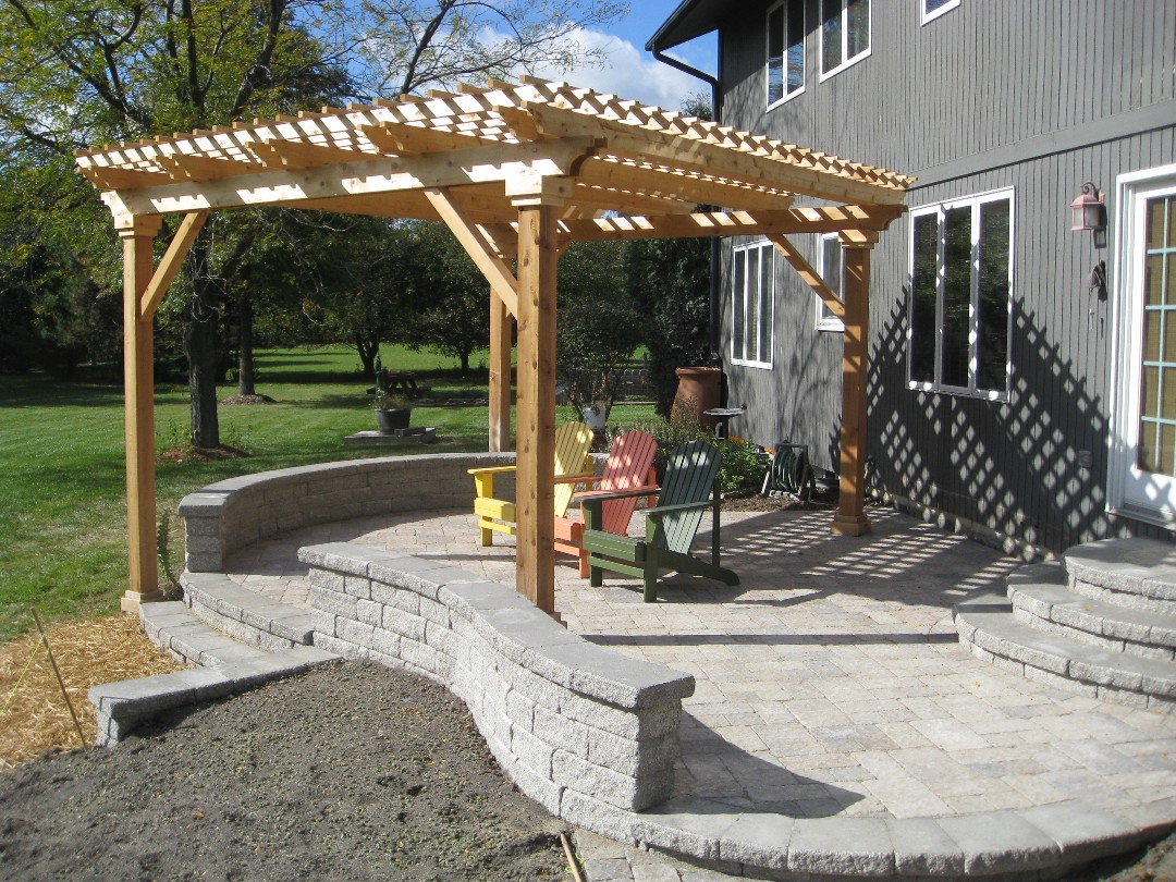 And Gazebos. Brick Paver Patio With Seatwall