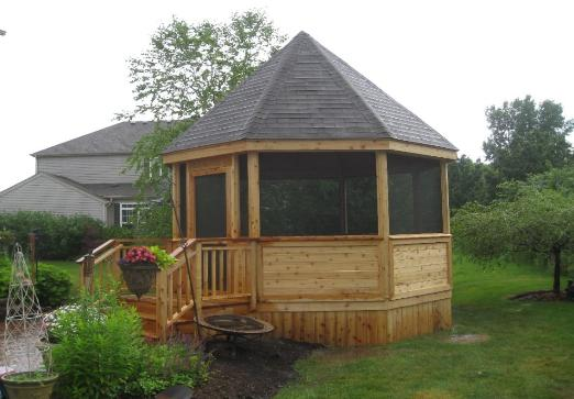 14' Gazebo with Landing and Stairs Port Barrington IL
