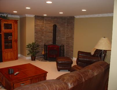 basement with fire place