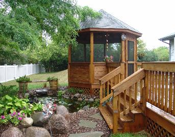 Deck gazebo and pond
