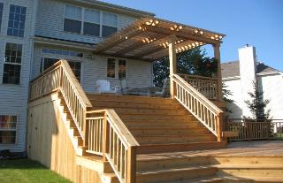 Cedar Deck with Grand Stairs and Pergola Crystal Lake IL