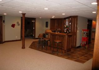 Finished Basement with Custom Built Bar Mt Prospect IL