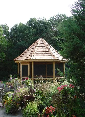 Custom Cedar Gazebo with Cedar shake roof Lemont IL