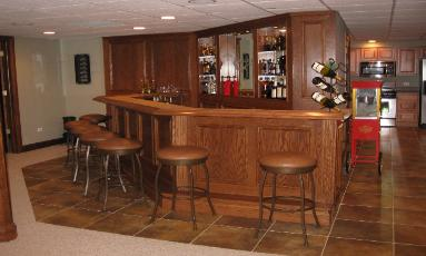 Custom Finished Basement and Bar Mt Prospect IL