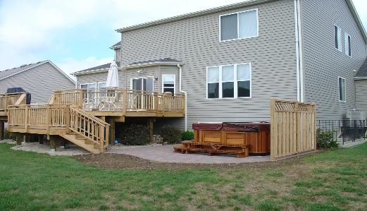 Deck Paver Patio and Hot Tub