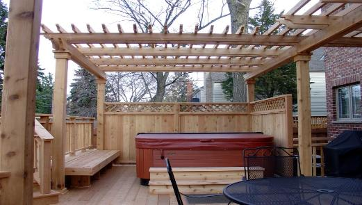 Pergola over Hot Tub With Privacy Rail