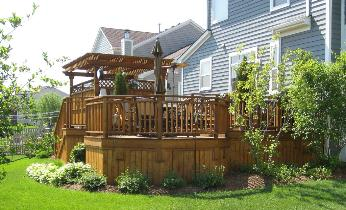 Deck with hot tub enclosure and pergola Elgin IL