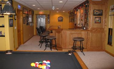Finished Basement and Game Room With Custom Bar