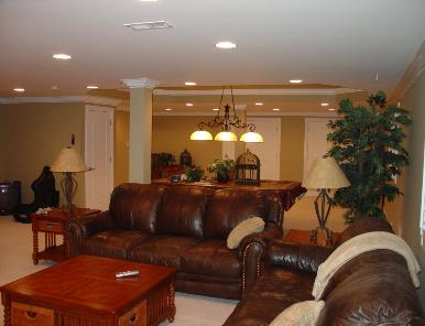 Finished Basement with tray ceiling