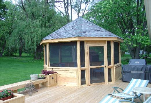 Gazebo With Planters and Bench Algonquin IL