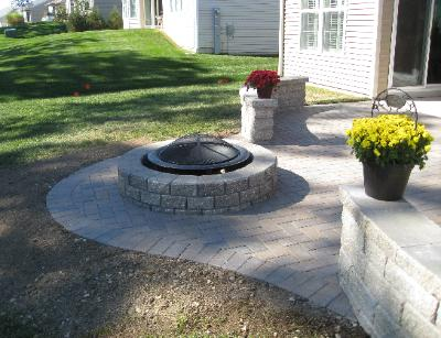 Patio with firepit Huntley IL
