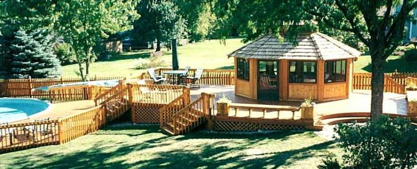 Custom Cedar Pool Deck With Gazebo McHenry