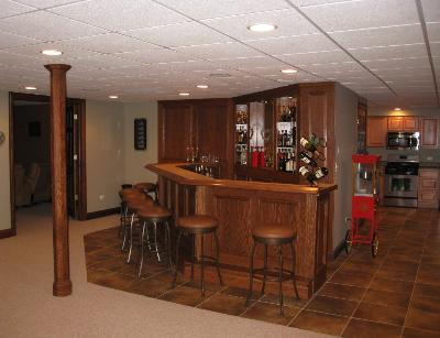 Basement with custom bar