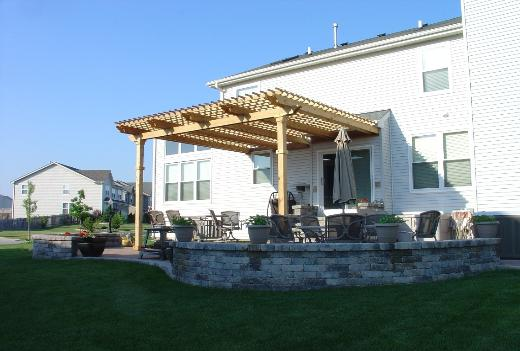 Paver Patio with seatwall and Pergola