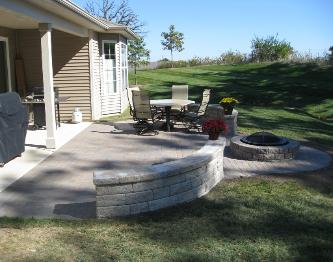 Patio with seatwall