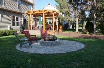 Paver Patio with Fire pit Trex Deck and Cedar Gazebo and Pergola Carpentersville
