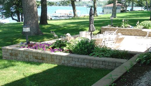 Paver Patio with Surrounding Garden Wall