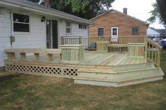 Pressure Treated Deck With Benches and Planters McHenry IL