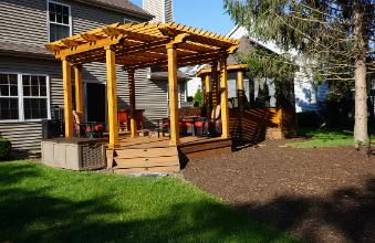 trex Deck with Cedar Pergola and Gazebo Carpentersville IL