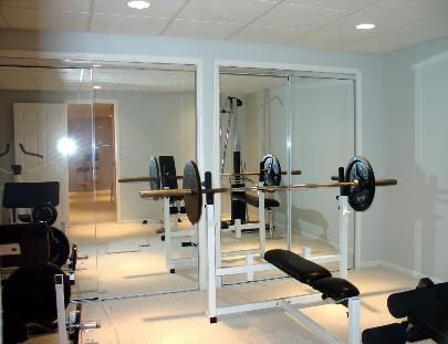 Weightroom in Finished Basement Lake in the Hills